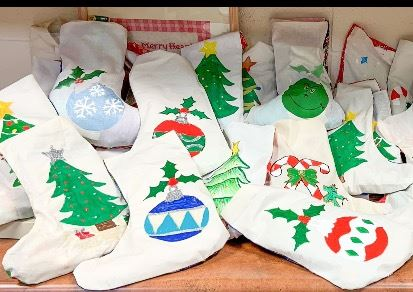 Christmas Stockings Displayed on Counter