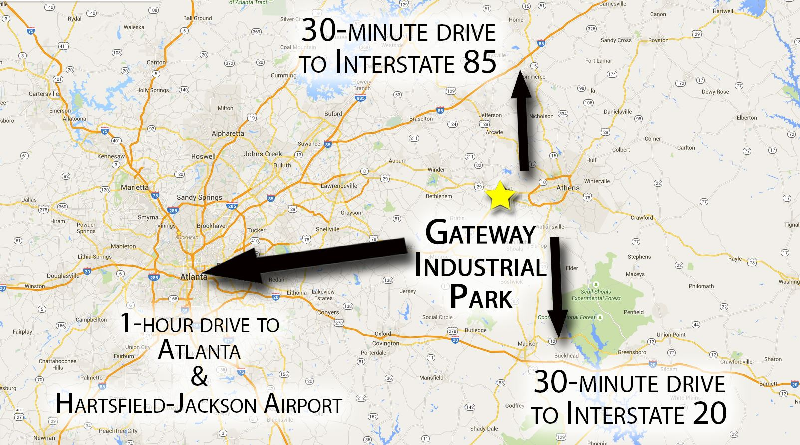 Drive Distance from Gateway Industrial Park