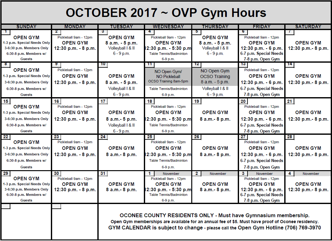 Oct Open Gym