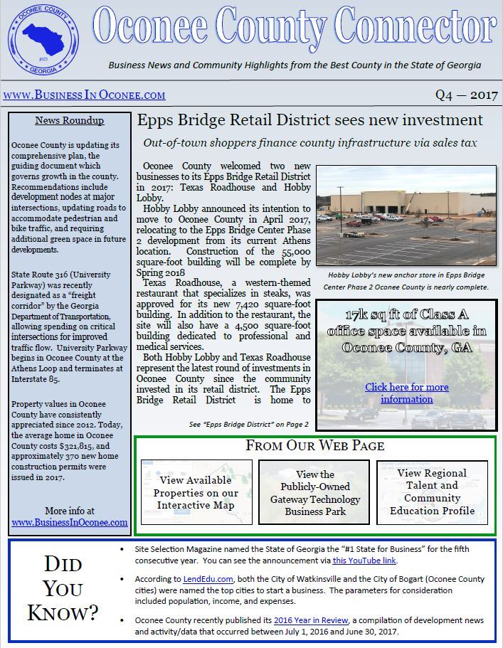 Oconee County GA - 2017 Q4 Newsletter