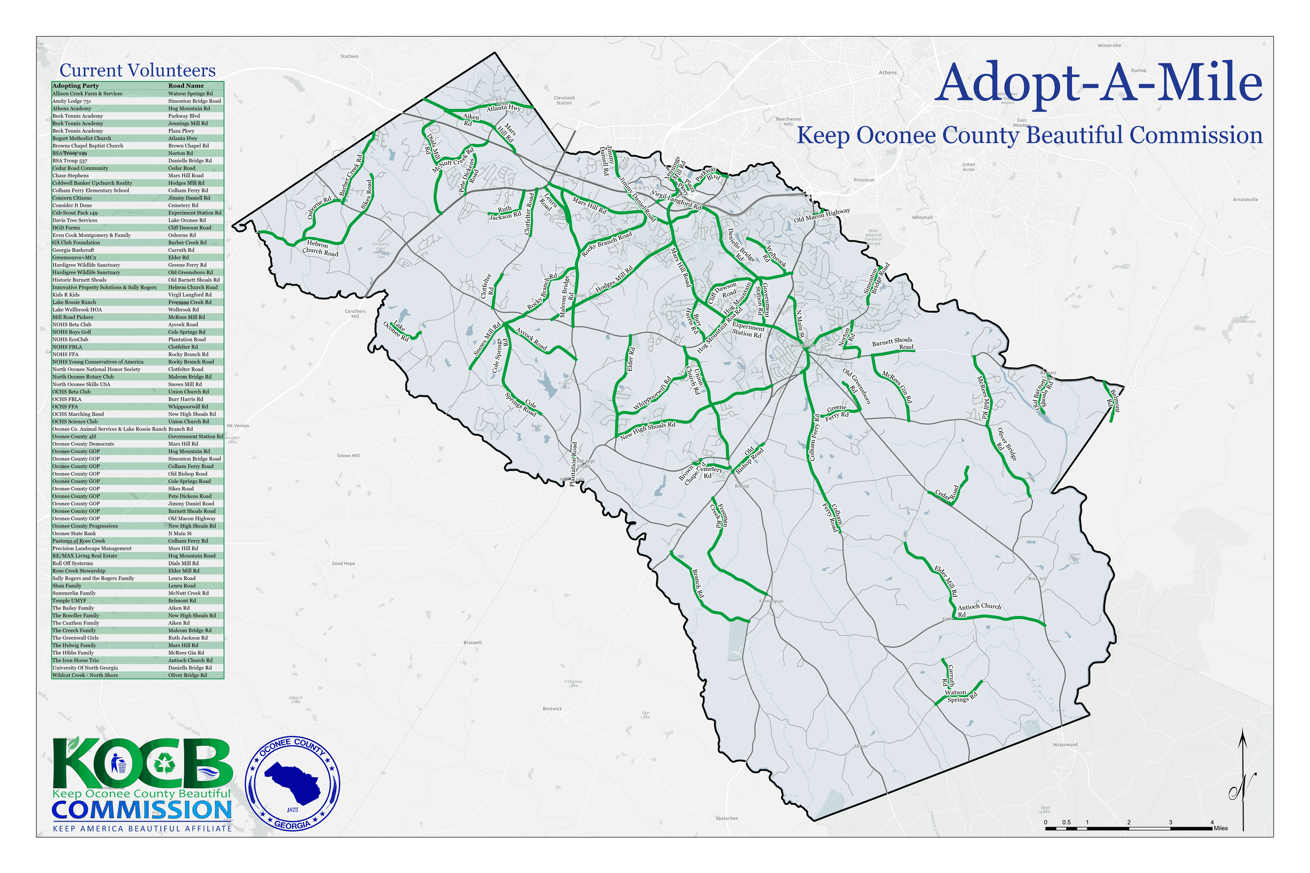 Adopt A Mile Map_3 Showing Sections of Road Adopted
