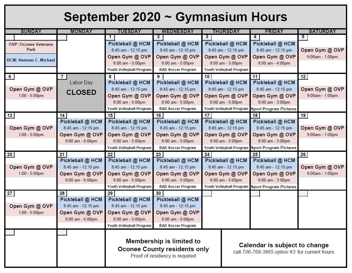 Sept 2020 GYM CALENDAR Opens in new window