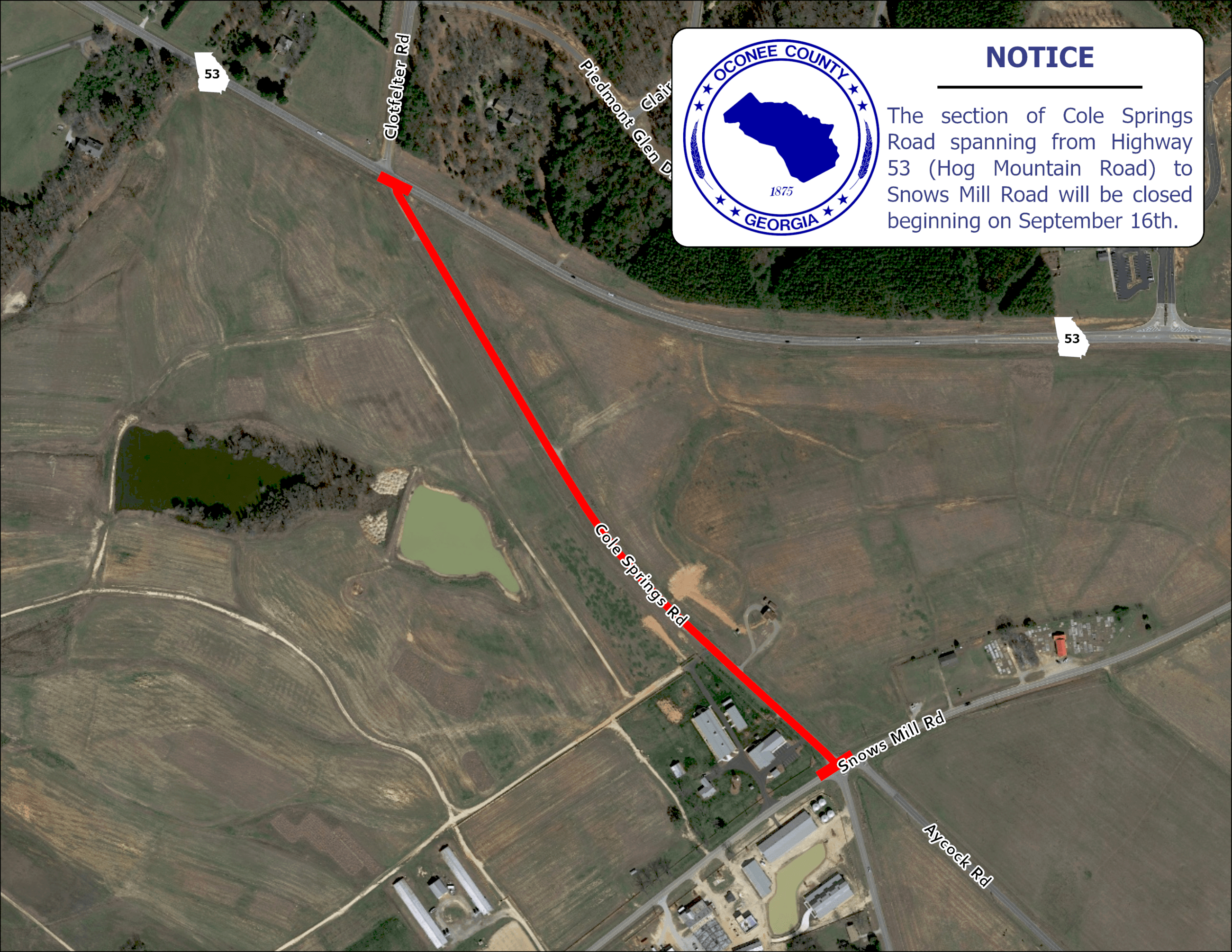 Map Showing Cole Springs Road Closure