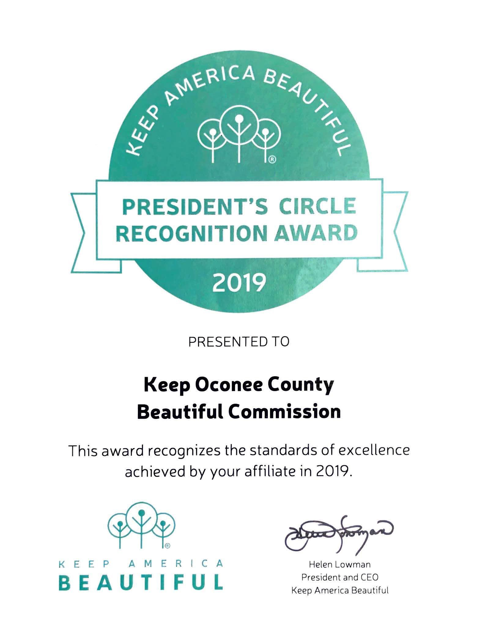Keep America Beautiful President's Circle Recognition Award Certificate