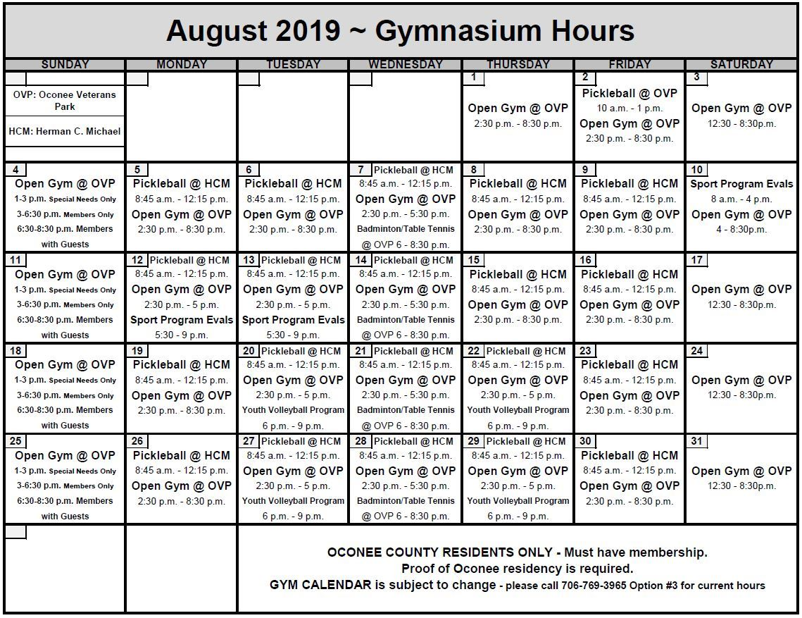 Aug 2019 GYM CALENDAR Opens in new window